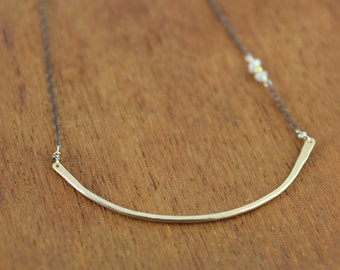 14K gold-filled bar with rough diamonds necklace - oxidized chain, mixed metals, minimal elegance, organic simplicity, romantic