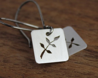 Leaves tab earrings - sterling silver, cutouts, saw-piercing, nature lover, botanical, oxidized ear wires, casual and chic