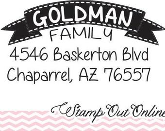 Custom Return Address Stamp, Banner Stamp, custom rubber stamps SELF INKING --5773