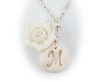 Personalized Gardenia Initial Necklace - Gardenia Jewelry