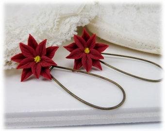 Red Poinsettia Dangle Earrings - Poinsettia Drop Earrings