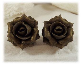 Bronze Rose Earrings Stud or Clip On - Bronze Rose Jewelry, Bronze Flower Earrings
