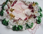 SOLD TO JULIE Christmas Necklace Mistletoe And Holly