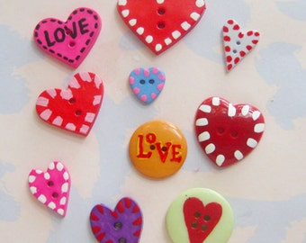 Hand-Painted Buttons Set of Ten - Hearts!