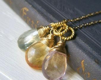 Gemstone Trio Necklace, Goldfilled Necklace, Natural Stone Wirewrapped Pink Quartz, Citrine, Green Amethyst Briolette, Pastel Gemstone Trio