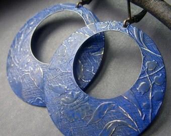 Blue Hoop Earrings, Brass Hoops, Large Etched Hoops, Cobalt Blue Patina Earrings, Gypsy Bohemian Hoops