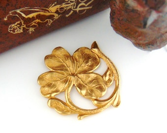 BRASS * Shamrock ~ Four Leaf Clover Stampings ~ Jewelry Ornament Findings ~ Brass Stamping (FA-6051)