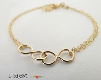 Sisters for Infinity, Mother Daughter Infinity Bracelet, Gold Filled Double Infinity Bracelet, Gift for Her, Anniversary Infinity Gift