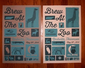 2014 Brew At The Zoo Screen Printed Poster