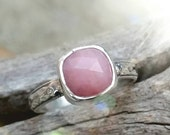 Pink Opal Ring, Sterling Silver Faceted Pink Opal Ring on a Patterned Band with a Vintage Appeal