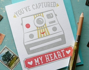 You've Captured My Heart Camera Letterpress Note Card