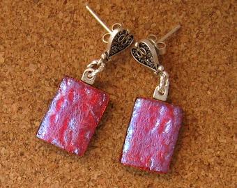 Dichroic Earrings - Fused Glass Earrings - Dichroic Jewelry - Fused Glass Jewelry - Post Earrings