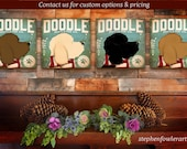 Doodle goldendoodle labradoodle Dog Mistletoe Company graphic illustration on canvas winter holiday art by stephen fowler
