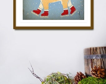 Shiba Inu dog ice skating winter illustration graphic art giclee signed artists print by Stephen Fowler