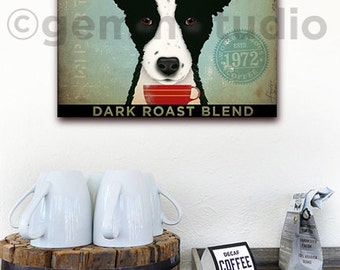 Border Collie Coffee Company Company dog illustration graphic artwork on gallery wrapped canvas by Stephen Fowler