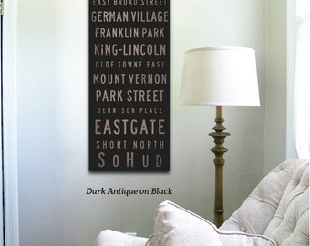 Columbus Ohio Neighborhoods Canvas typography graphic art on gallery wrapped canvas by stephen fowler