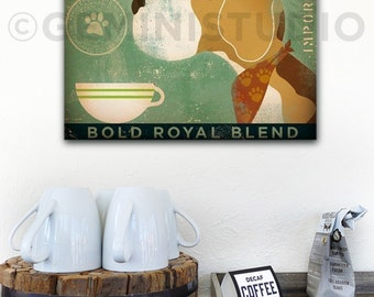 Regal Beagle dog Coffee company vintage style graphic art on gallery wrapped canvas by stephen fowler