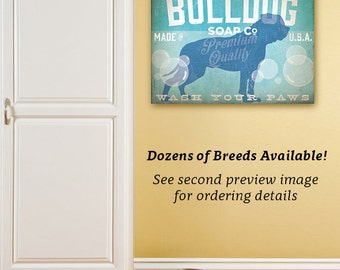 Dog Soap Company bathroom art illustration on gallery wrapped canvas by stephen fowler Select Your Breed