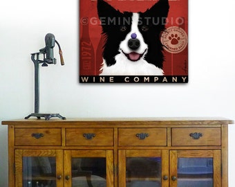 Border Collie Wine Company dog illustration graphic artwork on gallery wrapped canvas bar art