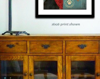 AIREDALE dog wine company graphic art illustration giclee signed print by stephen fowler