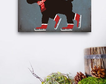 Goldendoodle Labradoodle black dog ice skating graphic art on canvas panel by Stephen Fowler