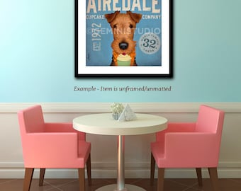 Airedale dog Cupcake Company graphic artwork illustration signed archival artists print giclee