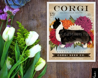 Welsh Corgi cardigan dog Seed Company Wildflowers vintage style seed packet artwork by Stephen Fowler Giclee Signed Print
