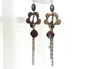 Handmade, One of a Kind, Drop Earrings, Dangle Earrings, Big, Statement Earrings, Revamp, Made from Vintage Findings, Vintage Shoe Buckles