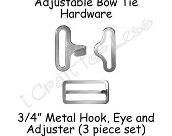 "50 Sets Adjustable Bow Tie Hardware Fastener Clips - Rectangle Slide Adjuster, Hook and Eye - 3/4"" Silver Metal - SEE COUPON"