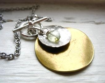Prehnite Necklace, Prehnite Stone Metalwork Necklace, Handmade Pendant Gemstone Chain Necklace, Gemstone Jewelry, Faceted Prehnite Jewelry
