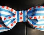 Chicago Flag Bow Tie Dog Collar - Chicago Flag Collar - Chicago Flag Dog Bow Tie