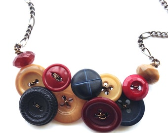 Button Necklace - Navy Blue, Burgundy Red, and Tan Brown Vintage Buttons
