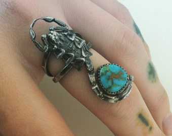 Scorpion and turquoise ring