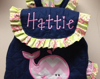Toddler Girl WHALE Backpack CUSTOM HANDMADe with WHALE Applique Choose Your Fabrics for the Applique and Trim Personalization included