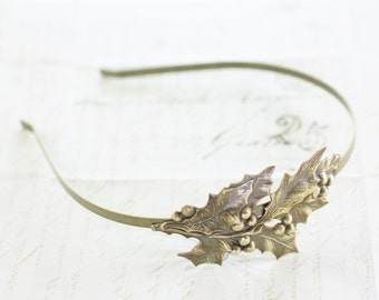 Holiday headband holly berry hostess leaf retro Christmas hair accessory hair band leaves silver brass