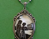 Sale 20% Off // PRIDE AND PREJUDICE Necklace, pendant on chain - Elizabeth and Darcy at Pemberley - Silhouette Jewelry // Coupon Code SALE20