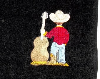 Little Cowboy Embroidered Hand Towel
