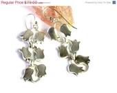 ON SALE Silver Dangle Flower Earrings-Statement Sterling Silver Earrings-Pendant Silver Earrings- Floral Dangle Earrings