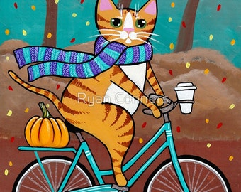 Autumn BIcycle and Coffee Cat - Cat Folk Art Print 8x10, 11x14