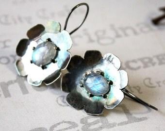 Dark Flower Rainbow Moonstone Earrings, Oxidized Sterling Silver Moonstone Jewelry, Silver Metalwork Flower Jewelry