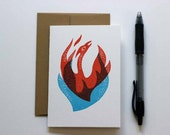 Blank Letterpress Notecard, Phoenix, Phoenix Rising, Fire, Blank Card, Letterpress Gift Card, Greeting Card, Block Print, Linocut, Mythical