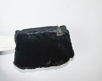 Black fur muff -30s  beaver fur muff - fur handwarmer-vintage fur  purse