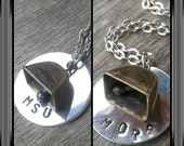 more cowbell stamped cowbell necklace bulldogs mississippi state football go dawgs mixed metals