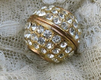 Vintage Large Rhinestone Ball Bead ... 25 mm Disco Ball, Bead, Finding, Pendant ... Pave Rhinestones ... jewelery supplies
