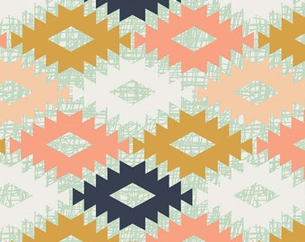 Tribal Fabric, Fabric by the Yard, Arizona fabric by April Rhodes for Art Gallery Fabric, Green fabric- Agave Field, Free Shipping Available