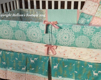 Custom Rustic Shabby Chic Mint/Aqua & Blush with Gold Metallic Fawn Baby Nursery 4-Piece Crib Bedding Set MADE to ORDER