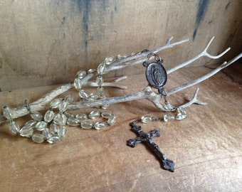 VINTAGE ROSARY...necklace ~ Prayer beads ~ Italy ~ silver tone ~ traditional home design ~ clear plastic
