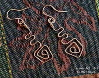 modern hammered copper zigzag swirl pierced earrings handmade
