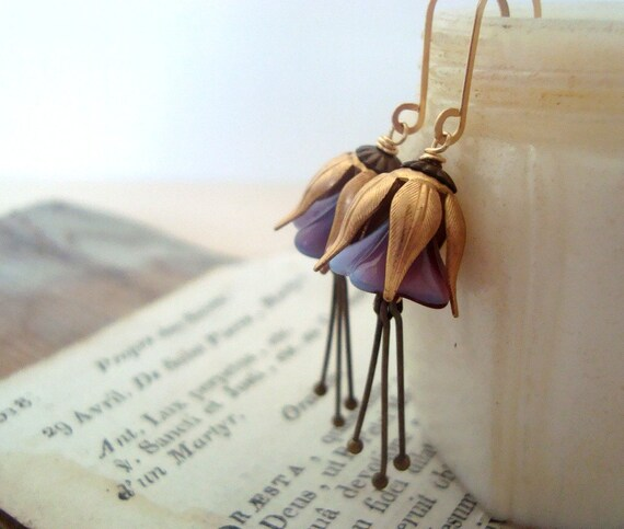 Lavender Blossom Earrings Brass Flower Jewelry Vintage Style Spring Fashion Easter Floral Earrings Under 40 Art Nouveau Mothers Day