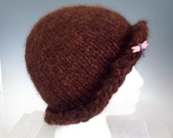 HAT  Women   100%  ALPACA SMARt SONYA - Girls  Teens  hand knit - rolled brim -  Natural browns  Medium